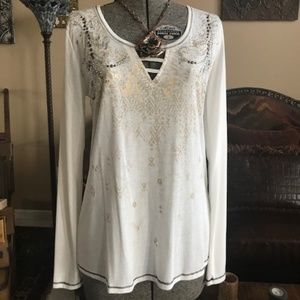 MISS ME Flowy STONES AND STUDS Ladder TOP NWT